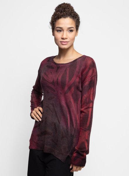 MA+CH Hi Lo Crew Sweater Ashbury Wine