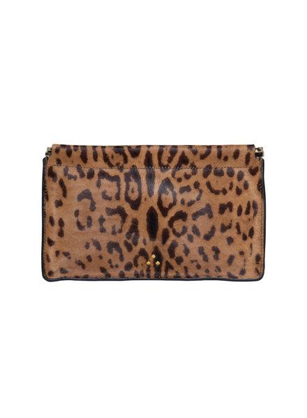 Jerome Dreyfuss Clic Clac Clutch L Pony Calfskin Leopard
