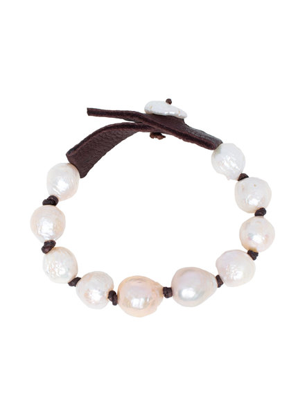 Renee Garvey Round Natural Pearls, Silk, and Leather Bracelet