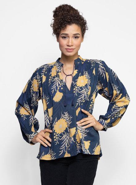 Trovata Colette Long Sleeve Bohemian Blouse Navy / Gold Floral