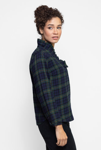 Trovata Erica Pleated Collar Blouse Blackwatch Plaid