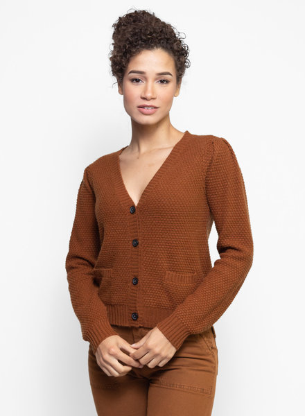 The Great The Puff Sleeve Cardigan Copper