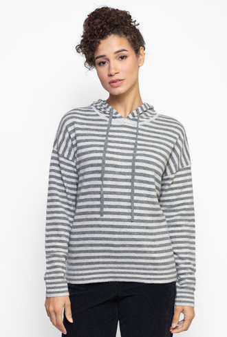 Kokun Stripe Hoodie Sweater Cloud / Medium Grey