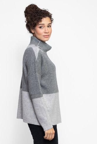 Kokun Double Face Colorblock Sweater Grey