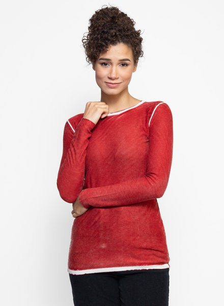 Kokun Overdyed Fitted Crew Sweater Scarlet