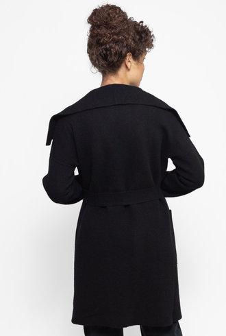 Kokun Oversized Collar Sweater Coat Black