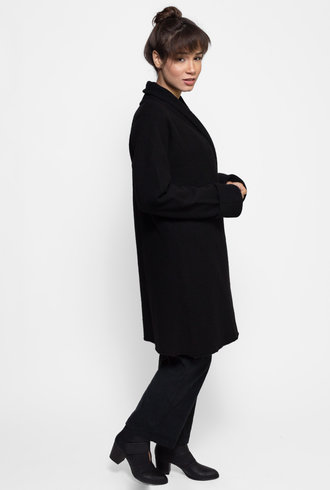Inhabit Boiled Wool Coat Black