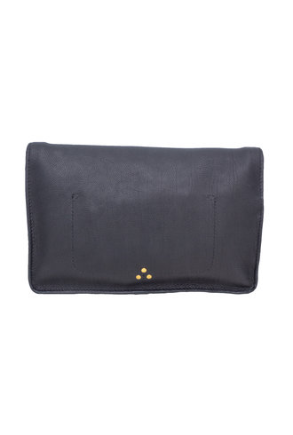 Jerome Dreyfuss Yves Clutch Bag Calfskin Noir Brass