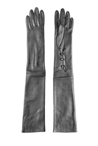 Long Leather Glove Anthracite
