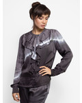 Raquel Allegra Victorian Ruffle Shirt Night Grey Tie Dye