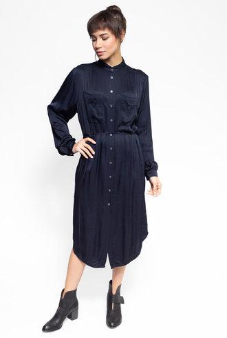 Raquel Allegra Cargo Shirt Dress Navy