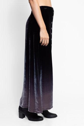 Raquel Allegra Velvet Button Front Skirt Night Ombre Tie Dye