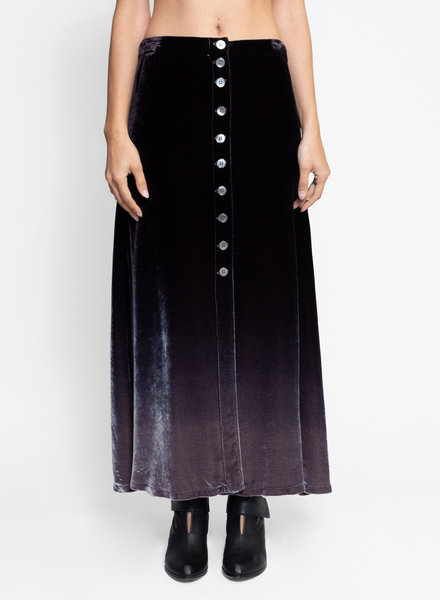 Raquel Allegra Velvet Button Front Skirt Night Ombre Tie Dye