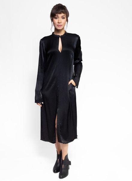 Raquel Allegra Split Front Dress Black