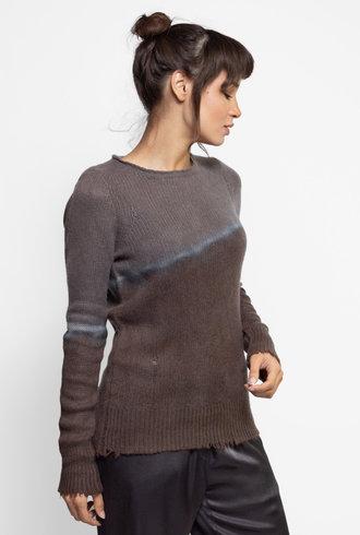 Raquel Allegra Slim Crew Cashmere Sweater Night Grey Tie Dye
