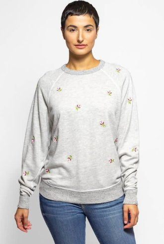 The Great The College Sweatshirt Heather Grey Rose Embroidery