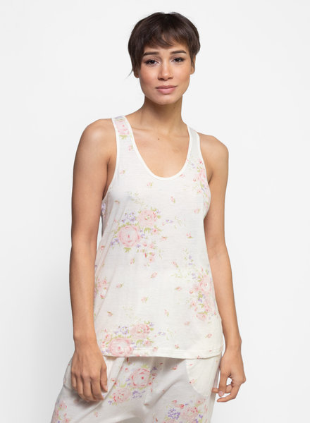 The Great The Sleep Racer Tank Washed White Garden Rose