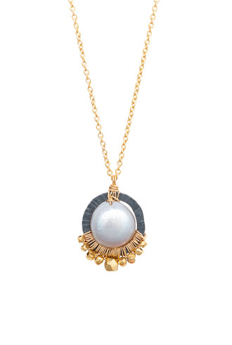 Dana Kellin Fashion Pearl, Dark Silver, and Gold Necklace