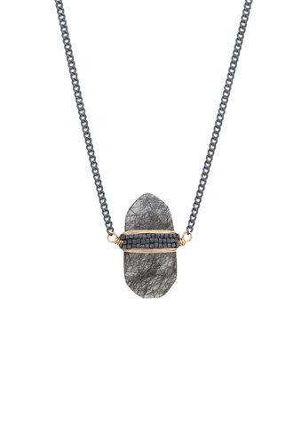 Dana Kellin Fashion Black Rutilated Quartz, Dark Silver, and Gold Necklace