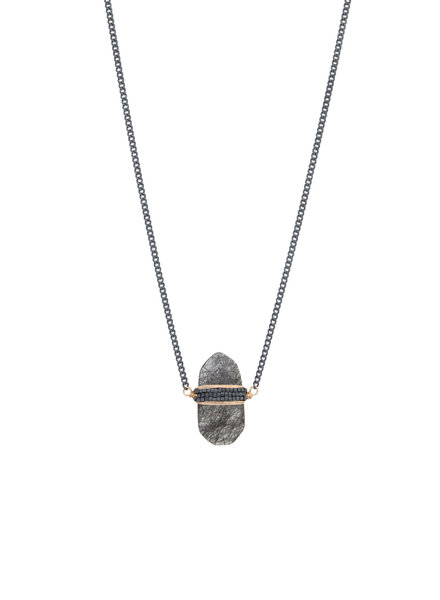 Dana Kellin Fashion Black Rutilated Quartz, Dark Silver, and Gold Necklace