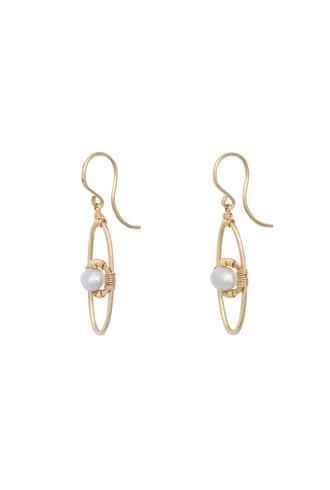 Dana Kellin Fashion Pearl and Gold Oval Earrings
