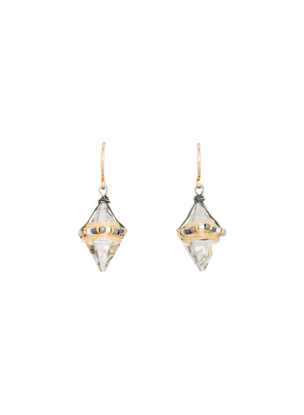 Dana Kellin Fashion Deco Mix, Silver, and Gold Earrings
