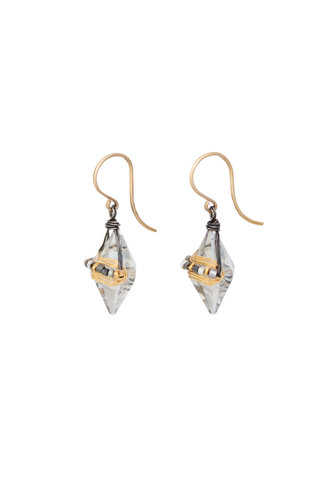 Dana Kellin Fashion Deco Mix, Silver, and Gold Earrings
