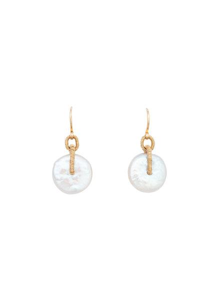 Dana Kellin Fashion Pearl and Gold Earrings