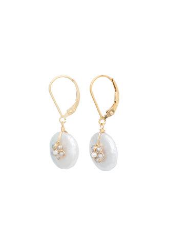 Dana Kellin Fashion Labradorite, Platinum Pearl, and Gold Earrings