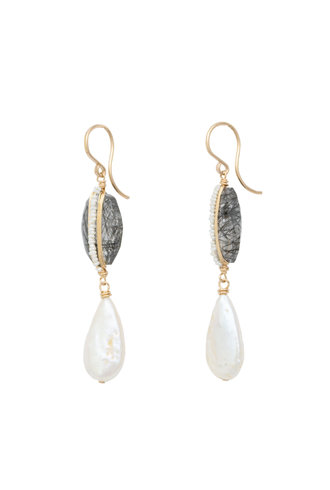 Dana Kellin Fashion Black Rutilated Quartz, Pearl, and Gold Earrings