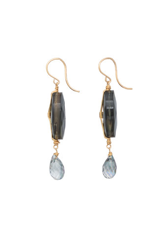Dana Kellin Fashion Abalone, Mystic Topaz, and Gold Earrings