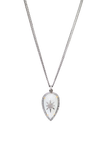 Robindira Unsworth Moonstone and Diamond Pendant Necklace