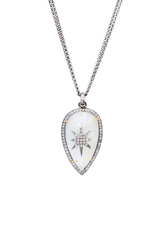 Robindira Unsworth Moonstone and Diamond Pendant Necklace