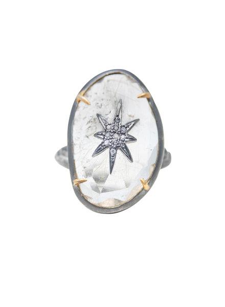 Robindira Unsworth Rutilated Quartz and Champagne Pave Diamond Star Silver Ring