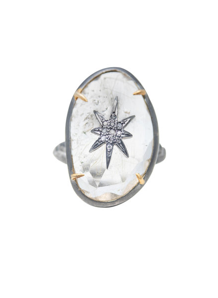 Robindira Unsworth Rutilated Quartz and Pave Diamond Star Silver Ring