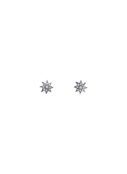 Robindira Unsworth Champagne Pave Diamond Star Stud Earrings