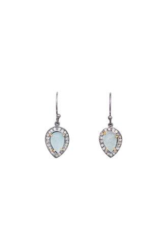 Robindira Unsworth Aquamarine and Diamond Drop Earrings