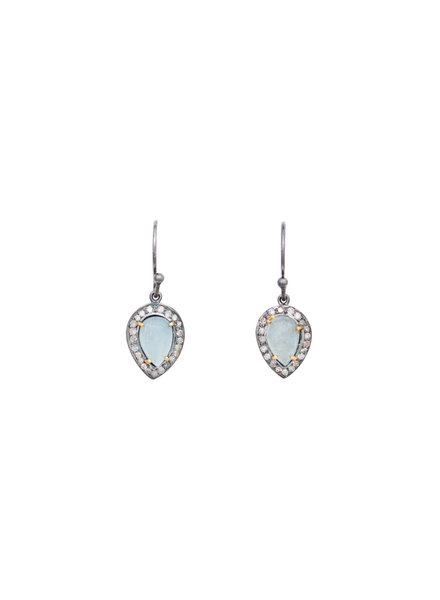 Robindira Unsworth Aquamarine and Diamond Drop Earrings
