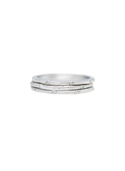 Page Sargisson Three Skinny Platinum Bands With Diamonds