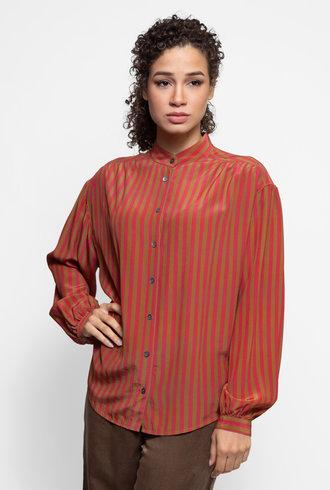 Raquel Allegra Shirred Blouse Venetian Red Stripe