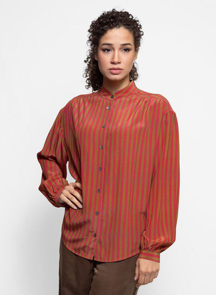 Raquel Allegra Shirred Blouse Venetian Red Stripe