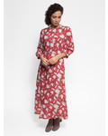 Raquel Allegra Ruffle Dreamer Dress Venetian Red Bold Floral