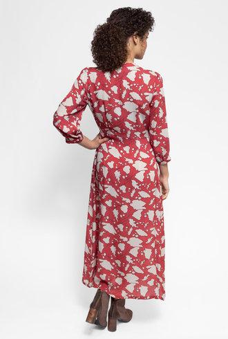 Raquel Allegra Ruffle Dreamer Dress Venetian Red Bold Floral