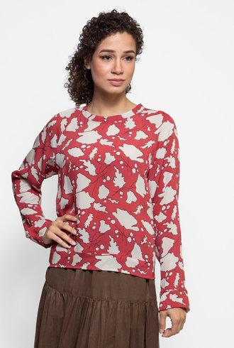 Raquel Allegra Raglan Blouse Venetian Red Bold Floral