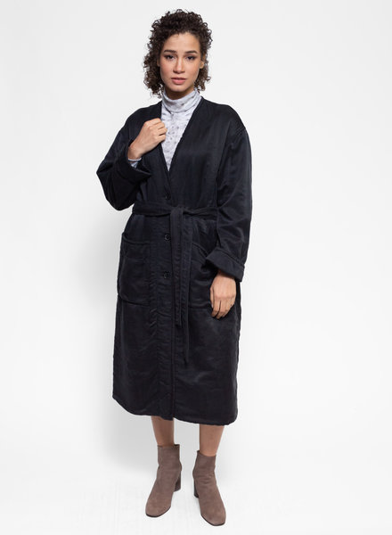 Raquel Allegra Long Quilted Coat Black