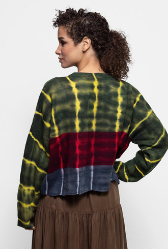 Raquel Allegra Boxy Crew Sweater Citrus Stripe Tie Dye