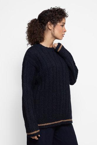 Raquel Allegra Collegiate Crew Sweater Midnight Tan Stripe