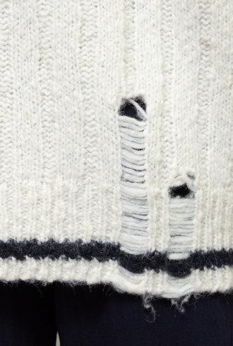 Raquel Allegra Collegiate Cardigan Sweater Cream Midnight Stripe