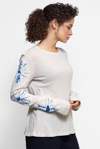 Raquel Allegra Long Sleeve Crew Saturn White Tie Dye