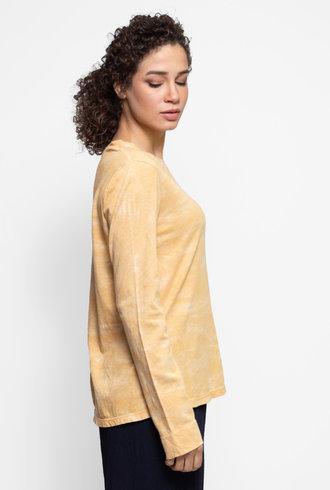 Raquel Allegra Long Sleeve Crew Mellow Yellow Tie Dye